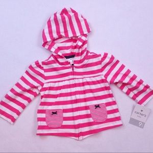 Carter's pink striped light weight hoodie 9 mo